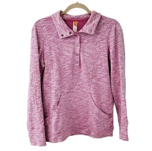 Lucy Pink Spacedye Quarter Button Pullover Sweater